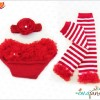 Ema Jane – Christmas Set – Baby Legging Set with Accessories (Ruffle Diaper Cover, Candy Cane Leggings, Hair Accessorie)