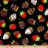 "44"" Wide Chocolate Covered Strawberries Black Fabric By The Yard"