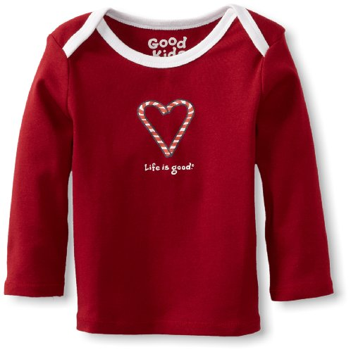 Life is Good Baby Ringer Long Sleeve Tee, Candy Cane Heart, Red, 36