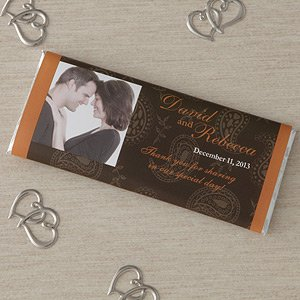 Photo Personalized Wedding Favors Candy Bar Wrappers - Paisley