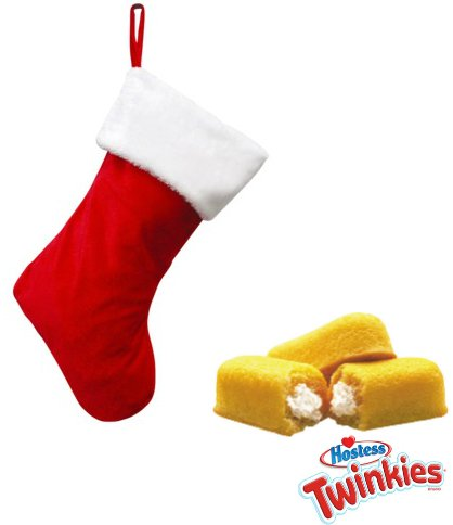 The Last Twinkie on the Planet Stocking Set! (2 Authentic Hostess Twinkies, Box of Chocolates, & Christmas Tin, Stuffed in a Plush Stocking)