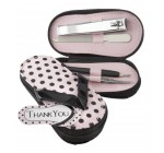 Pink Polka Flip Flop Four Piece Pedicure Set with Matching Thank you Tag