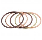 Elegant Five Bracelet Bangle Stack in Rose Gold, Chocolate Gold, Matte Gold with Hematite and Clear Crystals