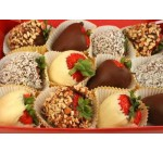 Box of Large Strawberries Dipped in Chocolate, Coconut and Nuts – 24″W x 17″H – Peel and Stick Wall Decal by Wallmonkeys