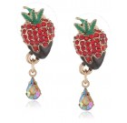 "Betsey Johnson ""Paris is Always a Good Idea"" Chocolate Strawberry Stud Earrings"