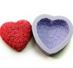 Allforhome Rose Heart Silicone Handmade Soap Chocolate Molds