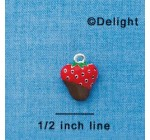 C3661 tlf – 3-D Chocolate Dipped Strawberry – Silver Plated Charm