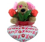 His or Her Romantic Gift 7″ Plush Dog with Chocolate Candy Rose in XOXO Hug Kiss Tin