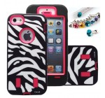 Cocoz® Deluxe Printed Hard Soft High Impact Hybrid Case Combo for Apple Iphone 5 , (Iphone 5, Zebra Hot Pink)–0005