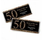 Custom Adult 50th Birthday – Gold – Personalized Birthday Party Favors Candy Bar Wrappers – Set of 24