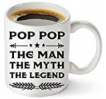 Muggies Pop Papa Mug – Gift For Dad And Grandpa! Coffee Tea 11oz Cup. Unique Gifts For Men & Husband! Christmas, Birthday, Father's Day – Pop Pop The Man The Myth The Legend + Woodworking Ebook