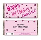 Personalised Happy Birthday Pink Stars Chocolate Bar for Kids Great Fun Gift for Girls and Women Birthdays Christmas by Gifts for Children