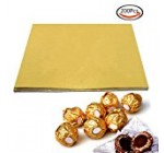 BAKHUK 200pcs 4″ Square Gold Aluminium Foil Paper Candy Wrappers Chocolate Wrappers for Packaging Candies and Chocolate