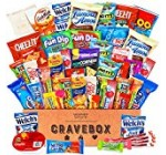 CraveBox – Deluxe Care Package Snack Box – Gift Basket Variety Pack with Bars, Chips, Candy and Cookies – Sweet and Salty Treats for Lunches, College Students and Office Parties (50 Count)