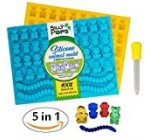 Gummy Bear Mold Bpa Free Silicone (Yellow, Blue) – Set of 2 for 86 Candies – 5 Different Types of Animals – Dropper Included – Candy Molds, Gummy Worm Mold, Chocolate Molds, Gelatin Molds, Ice Cube