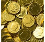 Solid Milk Chocolate Large Kennedy Gold Coins – 2 Full Pounds Bulk Wholesale