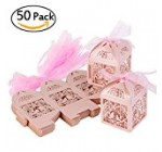 ULTNICE 50pcs Hollow Wedding Favor Candy Chocolate Gift Boxes with Ribbons for Wedding Engagement Party Pink