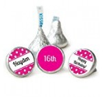 Personalized Birthday KISSES Stickers Candy Favors – Pink (108 Count)