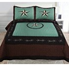 3-piece Printed Beige Black Chocolate Western Lone Star Barb Wire, Shoe Horse Cabin / Lodge Quilt Bedspread Coverlet Set (Full/ Queen, Turquoise-Wire)