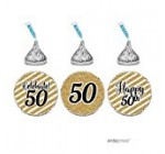 Andaz Press Milestone Chocolate Drop Labels Trio, Fits Hershey's Kisses Party Favors, Celebrate 50, 50th Birthday or Anniversary, 216-Pack, Printed Gold Glitter, Not Real Glitter