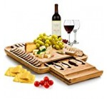 Bamboo Cheese Board with Cutlery Set, Wood Charcuterie Platter and Serving Meat Board with Slide-Out Drawer with 4 Stainless Steel Knife and Server Set – Personalized Gifts. Designed By: Bambusi