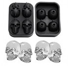 GG MALL 3D Skull Silicone Ice Cube Mold Tray, BPA free, Makes Four Vivid Skulls, Ice Ball Cube Maker, Black