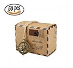 50 PCS Candy Gift Boxes, Bestga DIY Kraft Boxes Retro Post Mail Style Wedding Party Favor Gift Boxes Xmas Cookie Treat Goody Paper Boxes Bags for Christmas, Birthday, Holiday, Thanksgiving – Compass