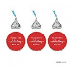 Andaz Press Chocolate Drop Labels Trio, Fits Hershey's Kisses Party Favors, Thanks for Celebrating With Us, Red, 216-Pack