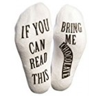 """If You Can Read This Bring Me Chocolate"" Luxury Cotton Novelty Socks – Perfect Valentine's Day Gift Idea for Chocolate Lovers, Hilarious Gag Gift for Wife or Husband – Best White Elephant Present"