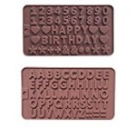 Silicone A to Z Letters +Happy Birthday / Numbers /Symbols Mold Chocolate Decorating Silicone Tray (2pcs)