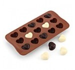 Silicone Candy & Chocolate Molds with 15 Cavity Hearts Shape, Ice Cube Tray, Cookie, Jerry, Pudding, Soap Molds, BPA Free