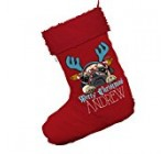 Personalised Candy Cane Pug Jumbo Red Santa Claus Christmas Stockings With Red Trim