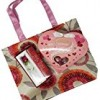 Gift for Her, Assorted Gift Bag includes box of Lindt Lindor Strawberries and Cream, Glass Rose, Pink Floral Canvas Tote, with Tissue Paper Perfect gift for girlfriend, wife, women