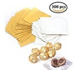 300 Pieces 4 Inch Square Golden Aluminium Foil Candy Wrappers Sugar Wraps Paper for DIY Candies and Chocolate Packaging by Party/ Wedding/Birthday/Chrismas Accessories