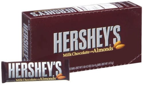 Hershey Milk Chocolate with Almonds, 1.45-Ounce Bars (Pack of 36)