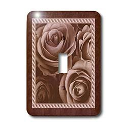3dRose LLC lsp_29953_1 Dark Chocolate Brown Roses Surrounded by A Striped and Marbleized Frame Single Toggle Switch
