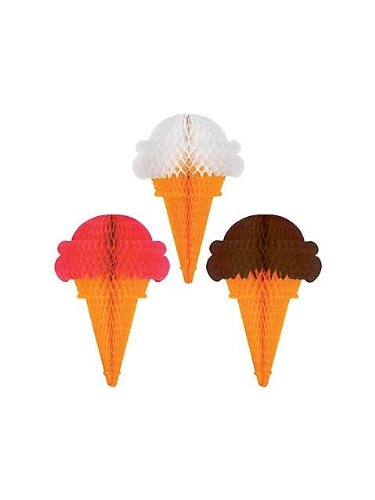 Tissue Ice Cream Cones (asstd chocolate, strawberry, vanilla) Party Accessory  (1 count) (1/Pkg)